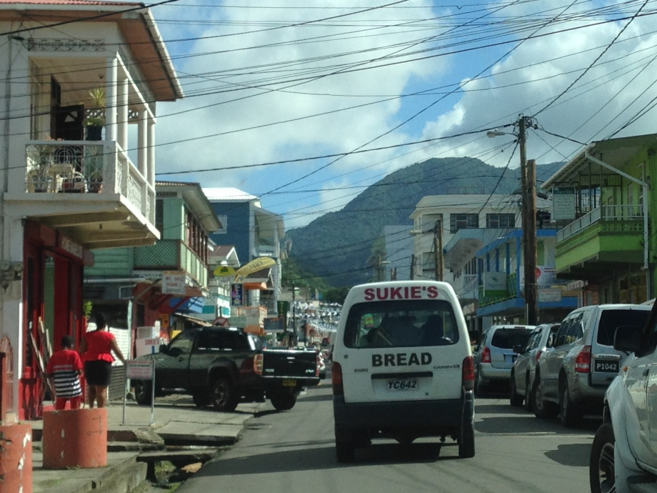 A glimpse of the clusterfuck that is a road in Roseau, Dominica